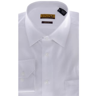 Enzo Tovare Men's White Twill Barrel-cuffed Dress Shirt