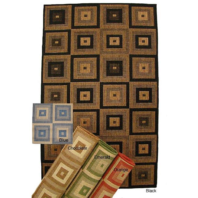 Pyramid Blocks Indoor/ Outdoor Area Rug (5'3 x 7'6)