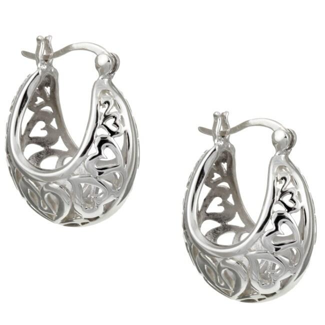 Sterling Essentials Sterling Silver Cutout Hearts Hoop Earrings