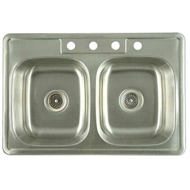 Double Bowl Stainless Steel Sink : Stainless Steel Double-bowl Kitchen Sink - 11894936 - Overstock.com ...