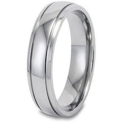 West Coast Jewelry Men's Titanium 5-mm Grooved and Polished Ring