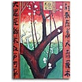 Hand-painted 'Asian Trees' Canvas Art