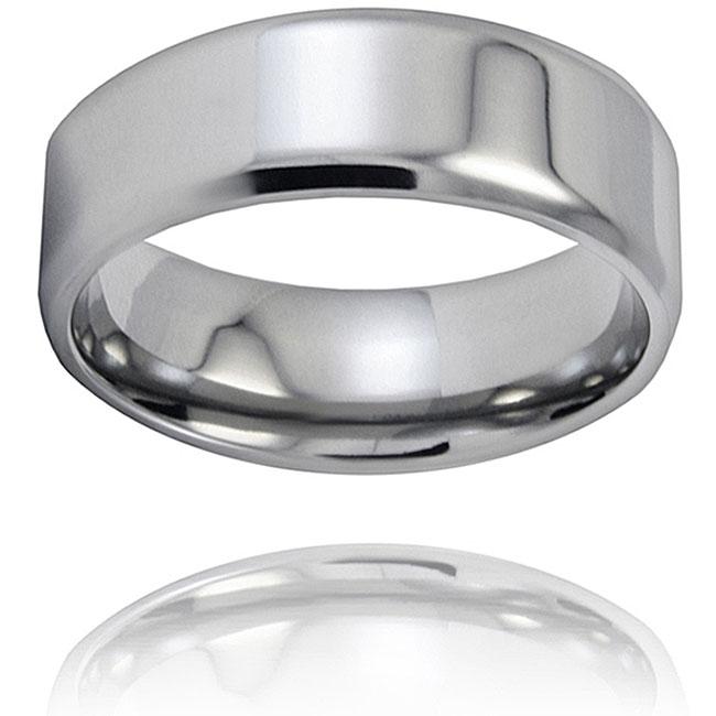 West Coast Jewelry Men's Titanium Beveled-edge Polished Ring (8-mm)