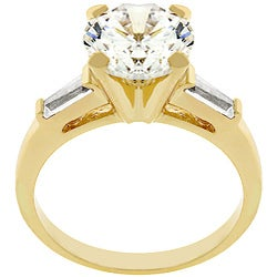 Kate Bissett 14k Gold Triplet Engagement-style CZ Ring