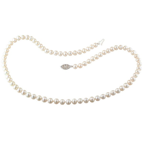 M by Miadora Sterling Silver 5-6 mm Cultured Freshwater Pearl Necklace (18 or 20 inch)