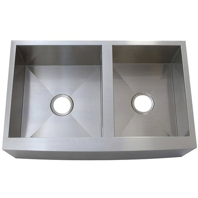 Stainless Steel Double Bowl Farmhouse Sink : ... Stainless Steel Farm Apron Well Angled 50/50 Double Bowl Kitchen Sink