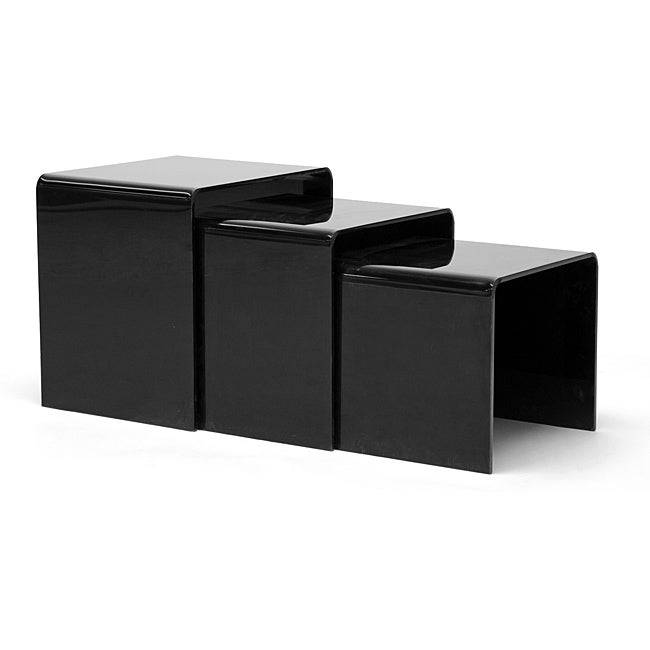 Alec Black Acrylic Nesting End Tables Set Of 3
