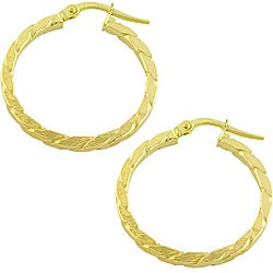 Fremada 10k Yellow Gold 2x23-mm Rope Hoop Earrings