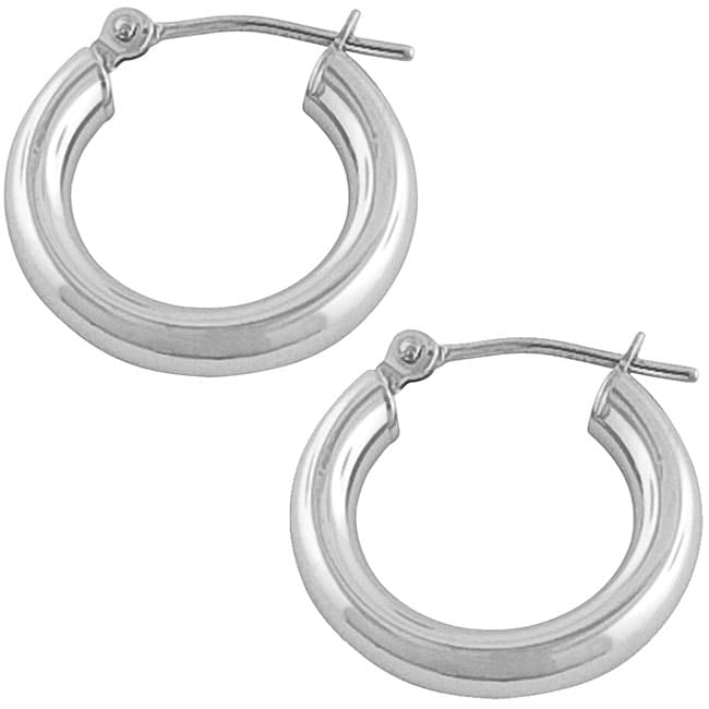 Fremada 14k White Gold 16 mm Tube Hoop Earrings