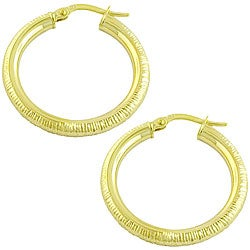 Fremada 10k Yellow Gold 25 mm Diamond-cut Hoop Earrings