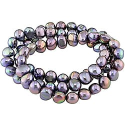 Miadora Black Freshwater Pearl Elastic Bracelets (Set of 3) (7-8 mm)