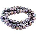 M by Miadora Black Cultured Freshwater Pearl Elastic Bracelets (Set of 3) (7-8 mm)
