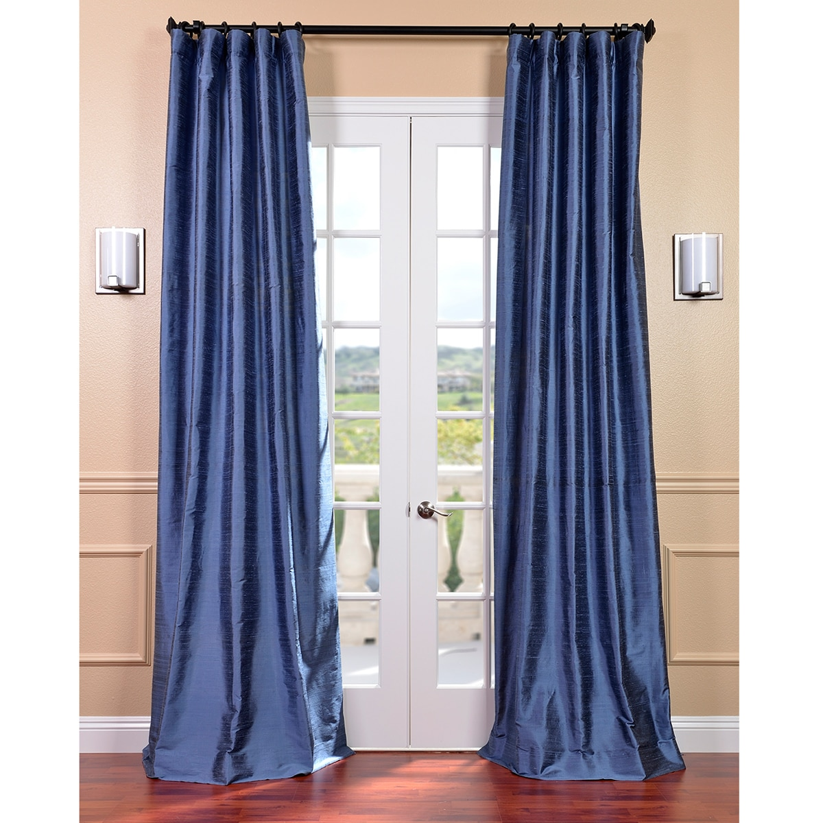 signature winter blue textured silk 96 inch curtain panel