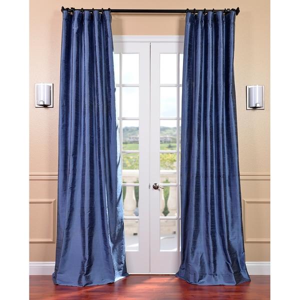 Signature Winter Blue Textured Silk Curtain Panel