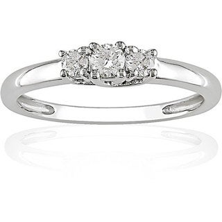 Miadora 14k Gold 1/4ct TDW 3-Stone Round Cut Diamond Ring (G-H, I1-I2)