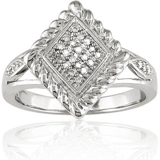 M by Miadora Sterling Silver 1/10ct TDW Textured Diamond Ring with Bonus Earrings