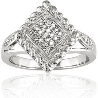 Haylee Jewels Sterling Silver 1/10ct TDW Textured Diamond Ring