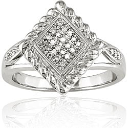 M by Miadora Sterling Silver 1/10ct TDW Textured Diamond Ring