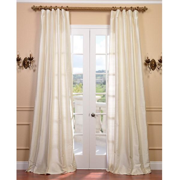 EFF Signature Pearl White Textured Silk 120-inch Curtain Panel