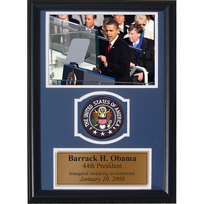 Barack Obama 12x18 Custom Framed Print with Patch