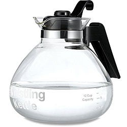 Glass 12-cup Stovetop Whistling Tea Kettle