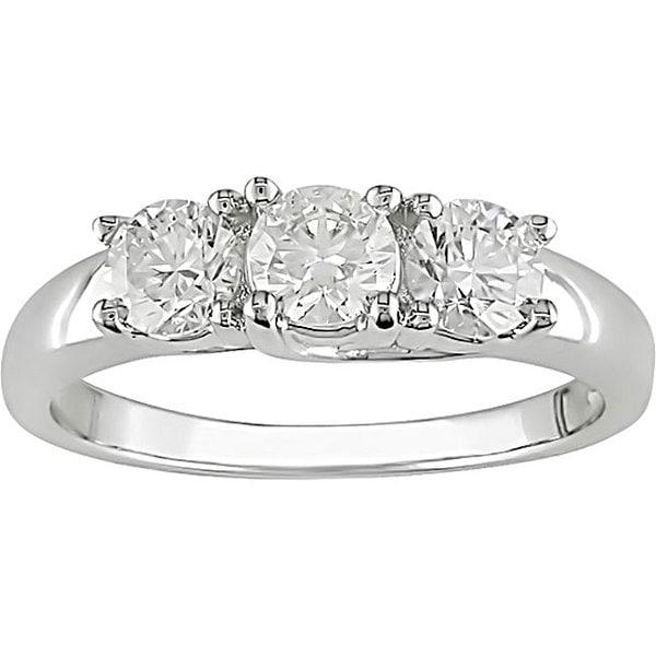Miadora 14k Gold 1ct TDW 3-stone Diamond Engagement Ring (H-I, I1-I2)