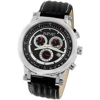 August Steiner Men's Black Strap Quartz Chronograph Watch