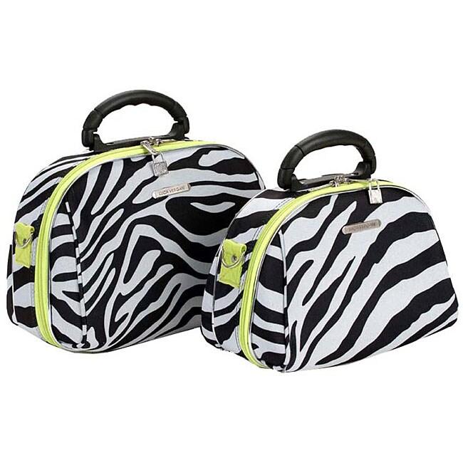 Luca Vergani Zebra/Lime 2-piece Cosmetic Case Set