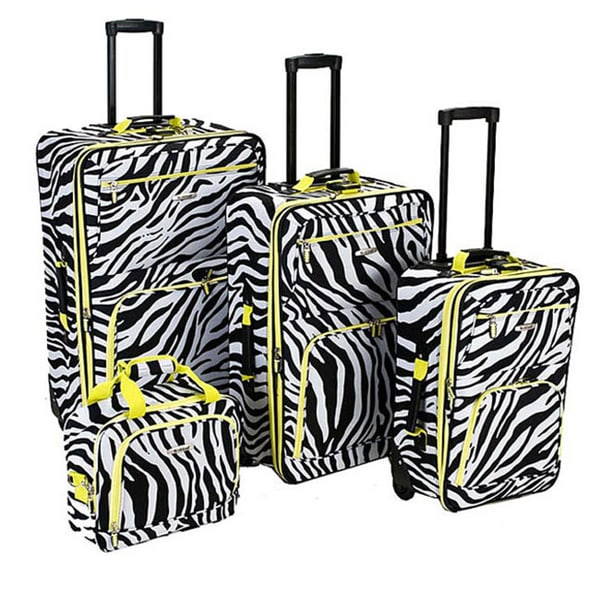 Rockland Deluxe Lime Zebra 4-piece Expandable Luggage Set