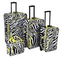 Rockland Deluxe Zebra/Lime 4-piece Luggage Set