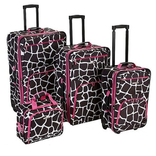 Rockland Pink Giraffe 4-piece Luggage Set