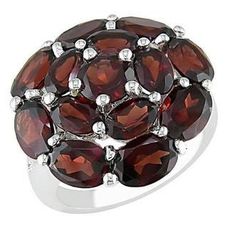 Miadora Sterling Silver Garnet Ring with Bonus Earrings