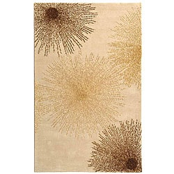 Handmade Soho Burst Beige New Zealand Wool Rug (9'6 x 13'6)
