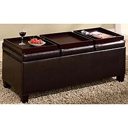 Dark Brown Flip-top Ottoman Storage Bench