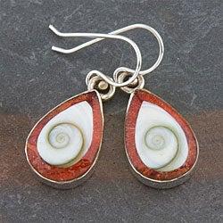 Sterling Silver Red Coral and Shiva Shell Earrings (Indonesia)
