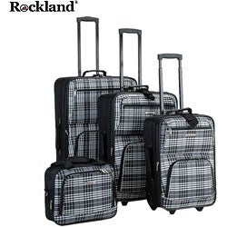 Rockland Black Cross 4-piece Expandable Luggage Set