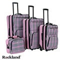 Rockland Pink Cross 4-piece Expandable Luggage Set