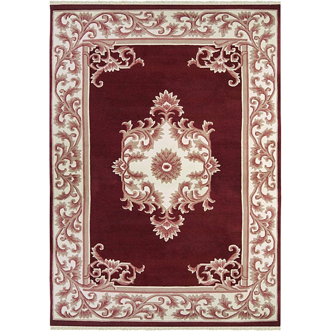 Hand-knotted Ganesh Burgundy Wool Rug (9' x 13')