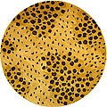 Safavieh Handmade Soho Leopard-print Gold/ Black N. Z. Wool Rug (8' Round)