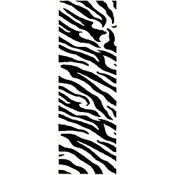 Handmade Zebra Wave White/ Black N. Z. Wool Runner (2'6 x 8')