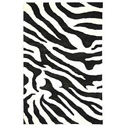 Safavieh Handmade Soho Zebra Wave White/ Black N. Z. Wool Rug (6' x 9')