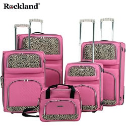 Rockland Leopard Print 5-piece Luggage Set