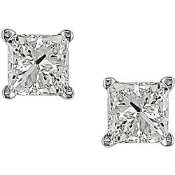 Miadora 14k Gold 3/4ct TDW IGL Certified Princess-cut Stud Earrings (G-H, I1-I2)