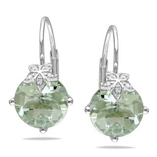 Miadora 10k Gold Diamond and Green Amethyst Earrings
