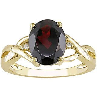 Miadora Women's 10-karat Yellow-gold Deep-red Garnet Diamond Ring with Bonus Earrings