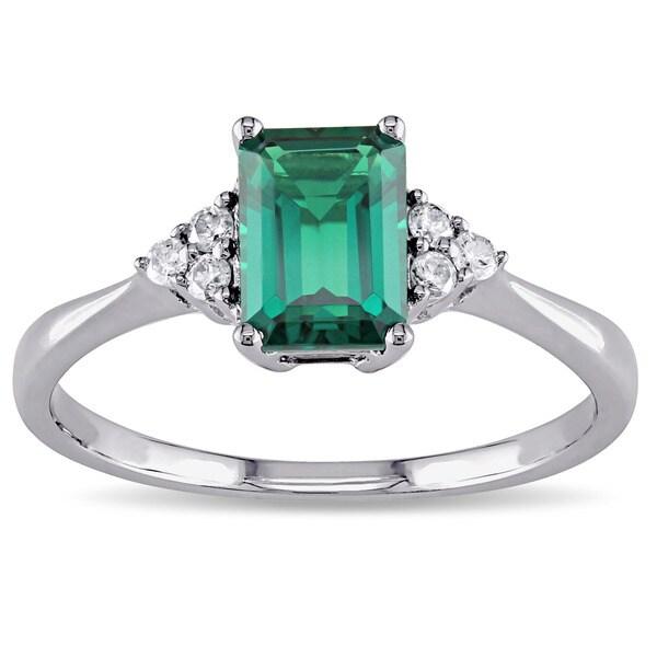 Miadora 10k Gold Created Emerald and 1/10ct TDW Diamond Ring (I-J, I2-I3)