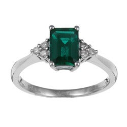 Miadora 10k Gold Created Emerald and 1/10ct TDW Diamond Ring (I-J, I2-I3)
