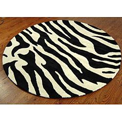 Safavieh Handmade Soho Zebra Wave White/ Black N. Z. Wool Rug (6' Round)