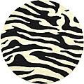 Handmade Soho Zebra Wave White/ Black N. Z. Wool Rug (6' Round)