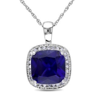 Miadora 10k Gold Created Sapphire and 1/10ct TDW Diamond Necklace